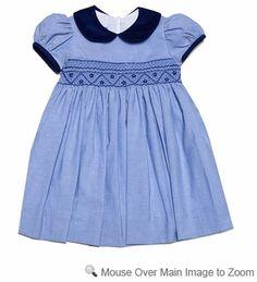 Anavini Baby / Toddler Girls Blue Twill Smocked Float Dress - Navy Blue Collar