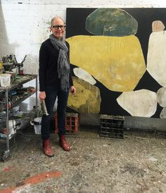 Ngaio Lenz with her most recent work in her Gasworks studio in South Melbourne.
