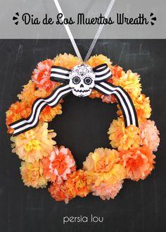 Dia de los Muertos Inspired Wreath for Halloween - Detailed tutorial for making the tissue paper marigolds + felt sugar skull
