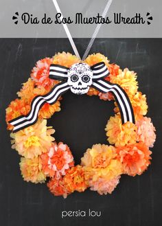 Dia de los Muertos Inspired Wreath- Detailed tutorial for making the tissue paper marigolds + felt sugar skull