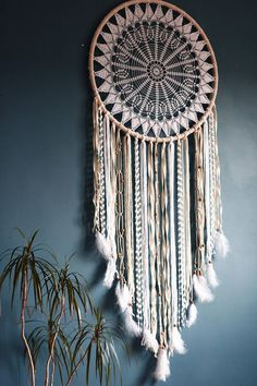 Extra large ivory and white dream catcher wall hanging, crochet dreamcatcher wall art, boho home decor, bohemian nursery decor Circus Simple and Impressive Tips Can Change Your Life: Home Decor For Small Spaces Reading home decor apartment bl Grand Dream Catcher, Dream Catcher White, Small Dream Catcher, Dream Catcher Boho, Doily Dream Catchers, Beautiful Dream Catchers, Dreamcatcher Crochet, Crochet Mandala, Bohemian Nursery