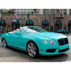 """2013 Bentley Continental GTC V8 """"Tiffany Blue"""" Beverly Hills edition ❤ liked on Polyvore featuring cars"""