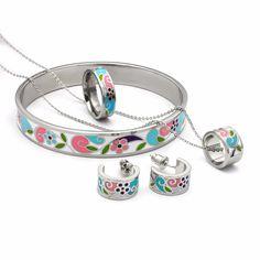 Newest Enamel Jewelry Sets for Women Elegant Classic Round Flower Pendant Necklace Set(Necklace& Bracelet& Earrings &Rings) 2016