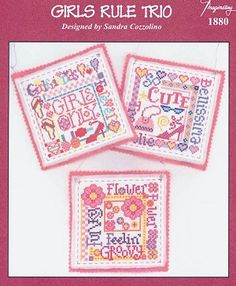 Girls Rule Trio - (Cross Stitch) Find your next Baby cross stitch design at Cobweb Corner and save 20% on your first order with coupon WELCOMECC #crossstitch #cobwebcorner #baby