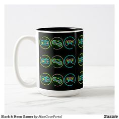 Black & Neon Gamer Two-Tone Coffee Mug Beer Mugs, Coffee Mugs, Black Neon, Photo Mugs, Portal, Keep It Cleaner, Colorful Backgrounds, Party Supplies, I Shop