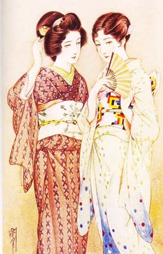 Beautiful Japanese People Should Wear Kimono Japanese Art Modern, Japanese Prints, Vintage Japanese, Japan Painting, Different Art Styles, Art Nouveau, Japan Art, Gay Art, Orient