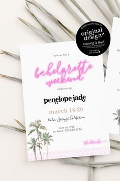 Palm Springs Bachelorette Party Invitations - printable and instant download template, including a weekend itinerary!