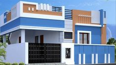 independent House and Villa sale in Coimbatore House Front Wall Design, Single Floor House Design, Village House Design, Small House Design, Independent House, Building Elevation, House Elevation, West Facing House, Bungalow Haus Design