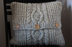 Chunky cable-knit cushion cover