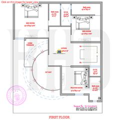 Modern house plan with round design element One Bedroom House Plans, House Plans Mansion, My House Plans, House Floor Plans, Plan Duplex, Duplex House Plans, 10 Marla House Plan, Indian House Plans, Modern Bungalow House