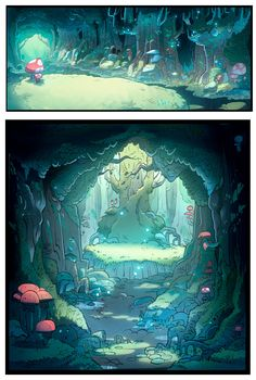 "Such detailed and cartoony backgrounds from ""Gravity Falls"".  Love them"