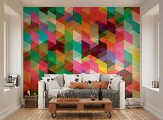 Photo Wallpaper Wall Mural for Bedroom Decor, Living Room Decor, Office or Dining Room - Modern Design Colourful Geometric Triangle Pattern