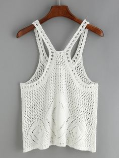 Crochet Hollow Out White Tank Top 2019 summer t shirt summer nights t shirt sleeve summer t shirt half sleeve t shirts sleeveless tee t shirt t shirt dresses shirt bobo summer cup tshirt Sommerkleider Trend 2019 Diy Crafts Crochet, Easy Crochet, Crochet Lace, Crochet Bikini, Crochet Mandala, Crochet Granny, Crochet Tank Tops, Crochet Shirt, Gilet Crochet