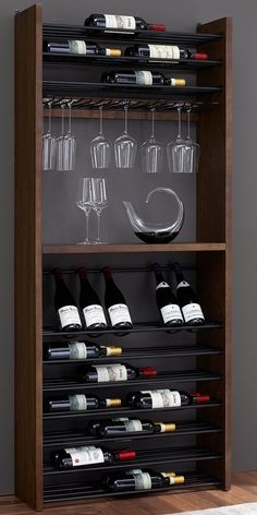 Horizontal metal rods allow collectors to display their bottles beautifully. Horizontal metal rods allow collectors to display their bottles beautifully.Made from reclaimed pine in a whiskey fi Wine Rack Design, Wine Cellar Design, Wine Rack Cabinet, Wine Rack Wall, Wine Racks, Pot Racks, Wine Shelves, Wine Storage, Crate Shelves