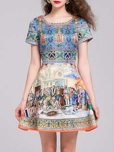 4bc96491b66  AdoreWe  StyleWe Dresses - CICI WANG Graphic Printed Girly Crew Neck Short  Sleeve Mini