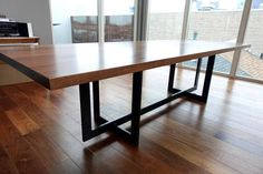 long wide and thick solid hardwood walnut top with steel base. We can customize this dining table to your desired dimension needs. Please message us so we can give you a custom shipping quote. Metal Leg Dining Table, Wood Table Bases, Dinning Room Tables, Walnut Dining Table, Dining Table Legs, Modern Dining Table, Wood Bench Plans, Interior Design And Construction, Concrete Table