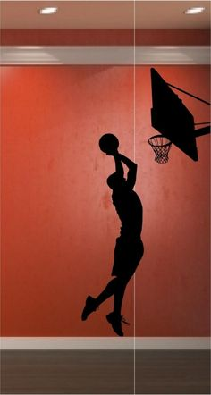 Basketball Player and Hoop Very Large Vinyl Decal