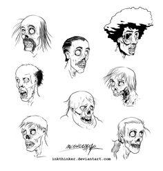 Zombie Head Drawing   Zombie heads by Inkthinker