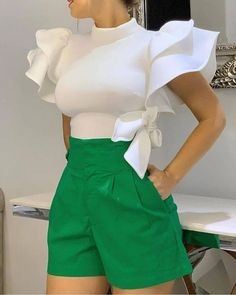 Ericdress Plain Ruffle Sleeve Patchwork Bowknot Blouse Online store for the latest fashion & trends in women's collection. Shop affordable ladies' Dresses, Clothing, Shoes & Accessories with top quality. Trend Fashion, Look Fashion, Fashion Today, Cheap Fashion, Womens Fashion, Latest Fashion, Ruffles, Cute White Tops, Modelos Fashion