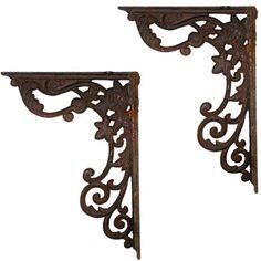 """Rusted"" Cast Iron Decorative Shelf Brackets"