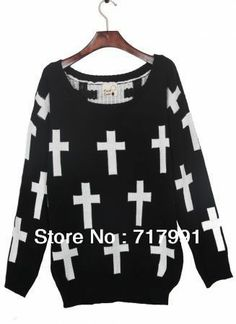 Free Shipping 2014 Lady's Stylish Cool Black Round Neck and White Cross Pattern Jumper Sweater US $22.40