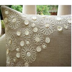 Luxury Ecru Pillow Cases Pearl Flower Mother Of by TheHomeCentric