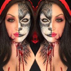 Halloween Inspo, Halloween Makeup Looks, Halloween Make Up, Halloween Costumes, Fairy Costumes, Wolf Makeup, Fx Makeup, Makeup Ideas, Animal Makeup