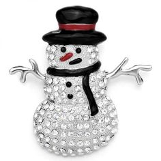 Pugster Clear White Crystal Snowman Black Hat Red Nose Brooches And Pins Gifts Pugster. $11.99. Exquisitely detailed designer style,Swarovski element crystal. One free elegant cushioned Gift box available with every order from Pugster.. Money-back Satisfaction Guarantee. Occasion: casual wear,anniversary, bridal, cocktail party, wedding. Can be pinned on your gown or fastened in your hair with bobby pins.