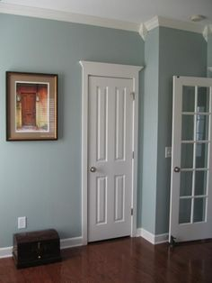 Sherwin Williams Silvermist. Good color ... especially with white trim and doors.