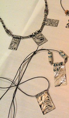 Zentangle Inspired Art workshops in VT: Tangled Paper Pendants and Necklaces, #jewelry, #beads