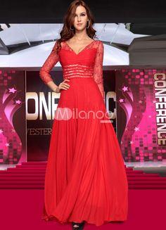 Soie de v-cou dentelle rouge comme robe de soirée femme - Milanoo.com