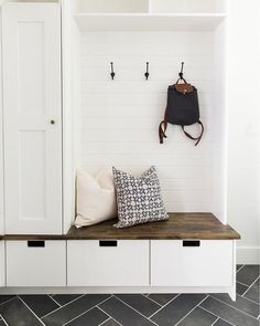 Mudroom Entryway - 15 Incredible Mudroom Organization Ideas For Simple Storage Mudroom Laundry Room, Closet To Mudroom, Garage Closet, Mudroom Cabinets, Room Closet, Closet Doors, Home Design, Living Room Designs, Small Spaces