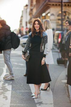 Tea length skirt via Carolines Mode Stockholm StreetStyle