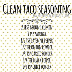 Taco seasoning Did you know, 9 out of 10 Americans consume too much sodium every day and have no clue! May have stopped salting their food and think that. Homemade Spices, Homemade Seasonings, Homemade Products, Mexican Food Recipes, Whole Food Recipes, Healthy Recipes, Healthy Meals, Healthy Food, Spice Blends