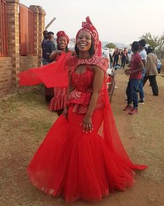 Wedding Dresses South Africa, African Wedding Attire, Red Wedding Dresses, African Weddings, Bride Dresses, Party Dresses, Zulu Traditional Wedding Dresses, South African Traditional Dresses, Traditional Outfits