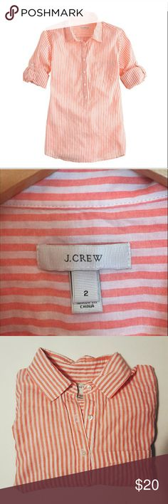 J. Crew Crinkle Stripe Popover Top This is the J. Crew crinkle, semi sheer, popover in stripe pink pattern. Part button down, part tunic. J. Crew loves the  popover silhouette for its casual chicness. In light as air cotton voile with roll-up button tab sleeves, this is the classic camp shirt at its sophisticated and spring-ready best. J. Crew Tops