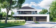 DOM.PL™ - Projekt domu CPT HomeKONCEPT-37 CE - DOM CP1-42 - gotowy koszt budowy Modern Bungalow Exterior, Modern Exterior House Designs, Modern House Facades, Modern Architecture House, Modern House Design, Chinese Architecture, Futuristic Architecture, New House Plans, Modern House Plans