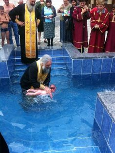 Cross shaped baptismal pool~~Baptism, Orthodox style. I needed one of those, my choice was the river or get water pored over my head in the baptismal font lol Thank God it happened one way or the other though!