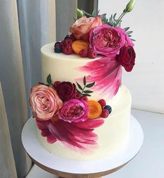 """We have collection of stunningly beautiful cake decorating to help inspire your baking passions and delight to the guest of honor. Take a look at the gallery board """"Cake Designs"""" Gorgeous Cakes, Pretty Cakes, Cute Cakes, Amazing Cakes, Cake Mix Cookie Recipes, Cake Mix Cookies, Cake Recipes, Painted Cakes, Cake Decorating Techniques"""