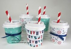 Maritime DSP on Mini Coffee Cups - Stampin IS my job! Barb Mullikin Stampin Up… Candy Crafts, 3d Paper Crafts, Coffee Cup Crafts, Mini Coffee Cups, Latte Cups, Christmas Coffee, Christmas Crafts, Coffee Cards, Fun Cup