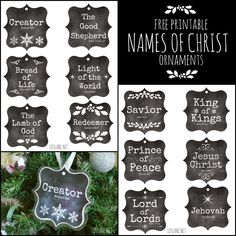 Names of Christ - free printable ornaments (LDS Lane) Ward Christmas Party, Homemade Christmas, Simple Christmas, Christmas Holidays, Xmas, Christmas Neighbor, Christmas 2017, Rustic Christmas, Easy Christmas Decorations