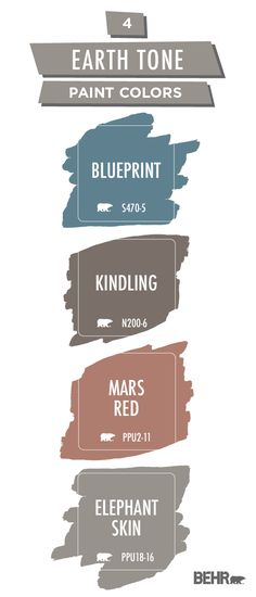 Choosing the perfect color palette is the first step of any DIY home makeover project. Luckily, Behr Paint can help! These earth tone paint colors are from the Behr 2019 Color Trends collection. Click below to learn more. Home Decor Colors, Interior Paint Colors, Paint Colors For Home, Paint Color Combos, Colorful Decor, House Colors, Diy Home Decor, Behr Paint Colors, Paint Color Palettes