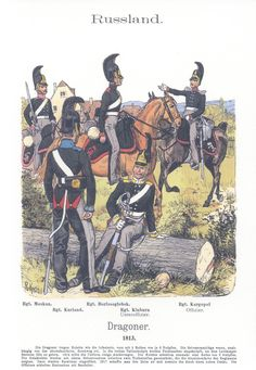 Vol 17 - Pl 59 - Rußland: Dragoner. Regiment Moskau. Regiment Kurland. Regiment Borissoglebsk. Regiment Kinburn (Unteroffizier). Regiment Kargopol (Offizier). 1813.