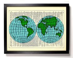 8x11 World Globe Repurposed Book Upcycled Dictionary Art Vintage Book Print Recycled Vintage Dictionary Page Buy 2 Get 1 FREE