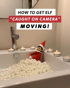 Elf on the Shelf Funny Idea - Marshmallow Candle lit bath Can I trade spots with elf on the shelf for this one? Kids will love it when they see Elf coming al Elf On The Self, The Elf, Christmas Activities, Christmas Traditions, Awesome Elf On The Shelf Ideas, Elf On Shelf Funny, Black House Exterior, Naughty Elf, Hiding Spots