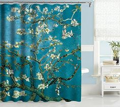 Uphome Oil Painting Almond Blossom Pattern Custom Bathroom Shower Curtain High Quality Teal Waterproof Polyester Fabric Bathroom Curtain Ideas x ** You can get additional details at the image link. Black White Shower Curtain, Almond Blossom, Tattoo Kits, Curtain Ideas, Bathroom Shower Curtains, Bathroom Accessories, Bathroom Ideas, Beauty Products, Image Link
