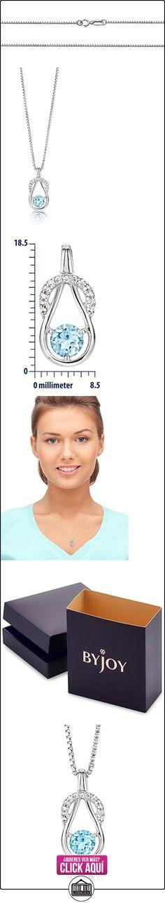 ByJoy Collar de Mujer, Plata, Azul Topacio  ✿ Joyas para mujer - Las mejores ofertas ✿ ▬► Ver oferta: http://comprar.io/goto/B014YYRMYY