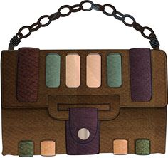 brown bag with a chained handle and coloured pattern