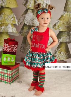 I LOVE SANTA DRESS SET Price: $44.99, Free Shipping Options: 1/2T, 3/4T click to purchase