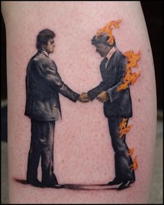 The cover art of 'Wish You Were Here' by Pink Floyd, made by Elton at Flaming Heart Tattoo, Trondheim, Norway